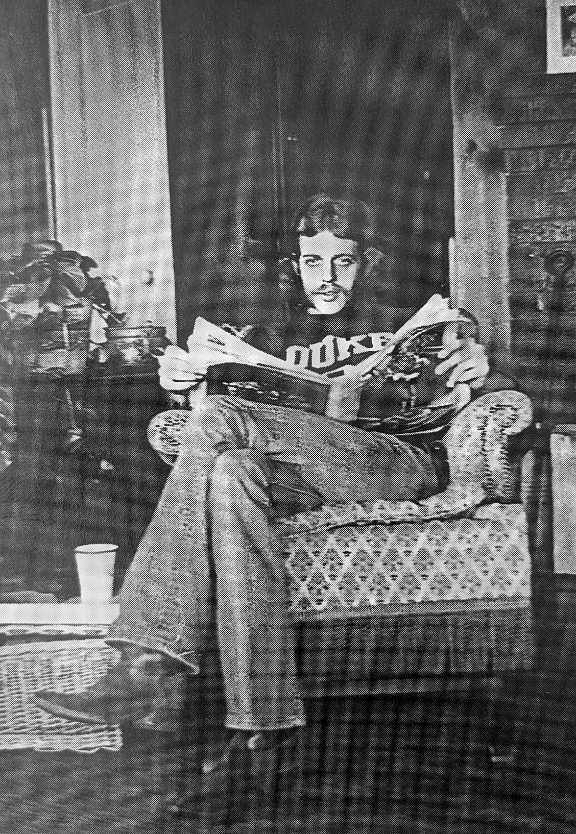 Don Felder, pictured in 1970 reading the Village Voice in upstate New York
